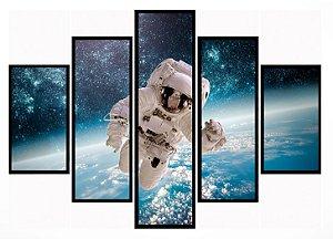 Quadro Mosaico 5 Partes Astronauta Moldura Preta Art e Cia