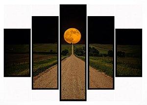 Quadro Mosaico 5 Partes Caminho para A Lua Moldura Preta Art e Cia