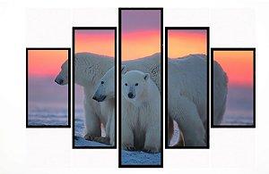 Quadro Mosaico 5 Partes Urso Polar Moldura Preta Art e Cia