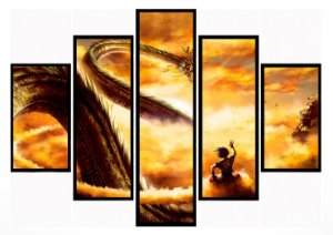 Quadro Mosaico 5 Partes  Goku Shenlong Moldura Preta Art e Cia