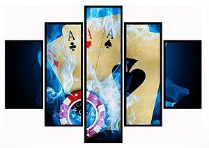 Quadro Mosaico 5 Partes Poker Fogo Moldura Preta Art e Cia