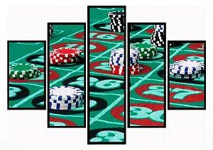 Quadro Mosaico 5 Portas Mesa de Poker Moldura Preta Art e Cia