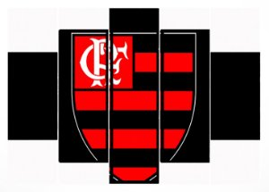 Quadro Mosaico 5 Partes Brasao Flamengo Moldura Preta Art e Cia