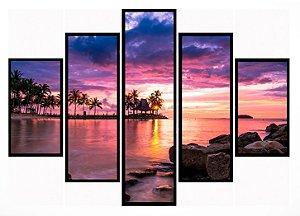 Quadro Mosaico 5 Partes Por Do Sol Na Praia Moldura Preta Art e Cia
