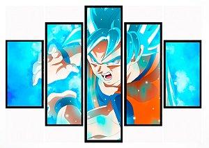 Quadro Mosaico 5 Partes Goku God Version Moldura Preta Art e Cia