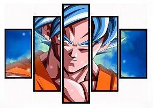 Quadro Mosaico 5 Partes Super Goku Ss God Moldura Preta Art e Cia