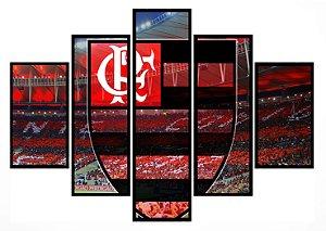 Quadro Mosaico 5 Partes Flamengo com Estadio Moldura Preta Art e Cia