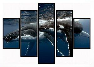 Quadro Mosaico 5 Partes  Baleia Moldura Preta Art e Cia