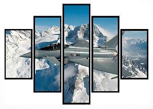 Quadro Mosaico 5 Partes Caca Militar Usa 7lwh Moldura Preta Art e Cia