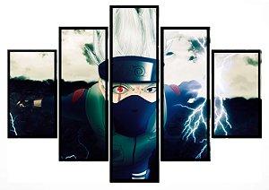 Quadro Mosaico 5 Partes Kakashi Naruto Moldura Preta Art e Cia