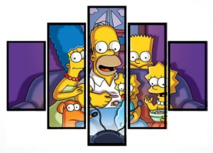 Quadro Mosaico 5 Partes Familia Simpsons Moldura Preta Art e Cia