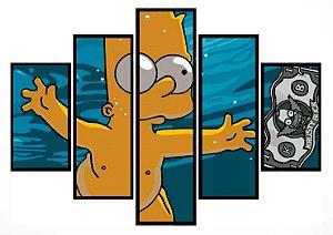 Quadro Mosaico 5 Partes Mergulho Bart Simpson Moldura Preta Art e Cia