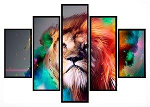 Quadro Mosaico 5 Partes Leao Colorido Moldura Preta Art e Cia