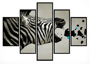 Quadro Mosaico 5 Partes  Zebra Moldura Preta Art e Cia