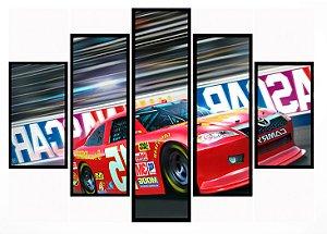 Quadro Mosaico 5 Partes  Nascar Racing Moldura Preta Art e Cia
