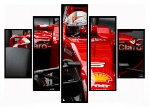 Quadro Mosaico 5 Partes Formula 1 Ferrari Moldura Preta Art e Cia