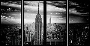Quadro Mosaico 4 Partes Reto New York Empire States Art e Cia Preto