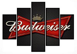 Quadro Mosaico 5 Partes  Budweiser Moldura Preta Art e Cia