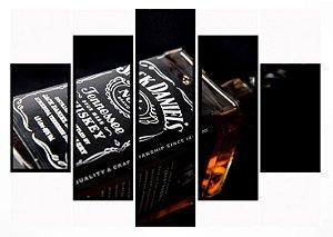 Quadro Mosaico 5 Partes Jack Daniels Moldura Preta Art e Cia