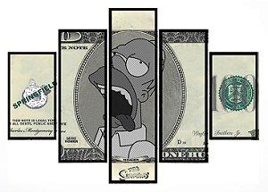 Quadro Mosaico 5 Partes Simpsons Dolar Moldura Preta Art e Cia
