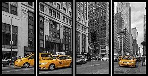 Quadro Mosaico 4 Partes Reto Taxi de New York Art e Cia Preto