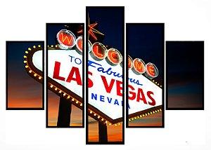 Quadro Mosaico 5 Partes Las Vegas Moldura Preta Art e Cia