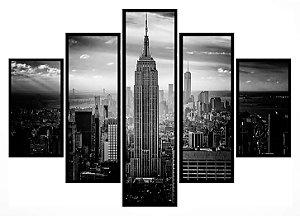 Quadro Mosaico 5 Partes New York Empire States Moldura Preta Art e Cia