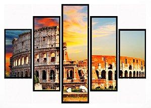 Quadro Mosaico 5 Partes Italia Coliseu Moldura Preta Art e Cia