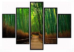 Quadro Mosaico 5 Partes Floresta Moldura Preta Art e Cia