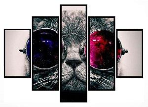 Quadro Mosaico 5 Partes Cat With Glasses Moldura Preta Art e Cia