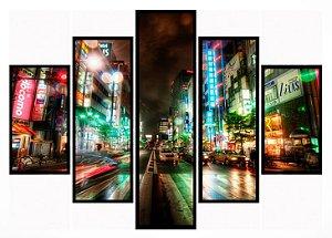 Quadro Mosaico 5 Partes Tokio Japao Moldura Preta Art e Cia