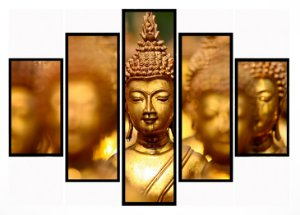 Quadro Mosaico 5 Partes Buda Moldura Preta Art e Cia