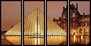 Quadro Mosaico 4 Partes Reto Louvre Museum Paris Art e Cia Preto