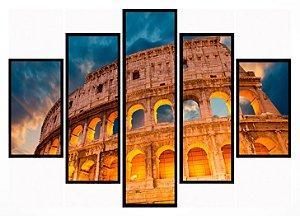 Quadro Mosaico 5 Partes Coliseu Moldura Preta Art e Cia