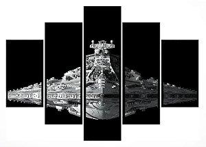 Quadro Mosaico 5 Partes Star Wars Moldura Preta Art e Cia
