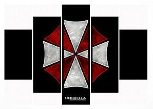 Quadro Mosaico 5 Partes Umbrella Corporation Moldura Preta Art e Cia
