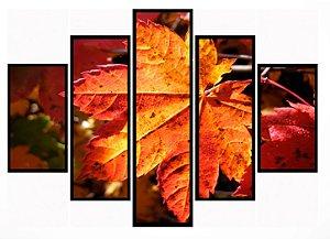 Quadro Mosaico 5 Partes Folha de Outono Moldura Preta Art e Cia