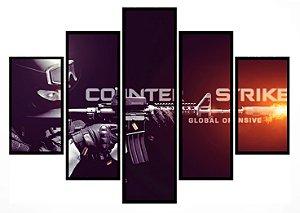 Quadro Mosaico 5 Partes  Counter Strike Global Offensive Moldura Preta Art e Cia