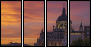 Quadro Mosaico 4 Partes Reto Hotel em Madrid Art e Cia Preto