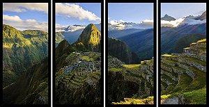 Quadro Mosaico 4 Partes Reto Vista Aerea Machu Picchu Art e Cia Preto