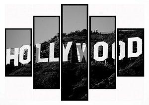 Quadro Mosaico 5 Partes Hollywood Moldura Preta Art e Cia