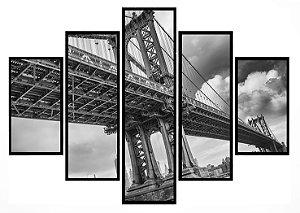 Quadro Mosaico 5 Partes Brooklyn Bridge  Moldura Preta Art e Cia