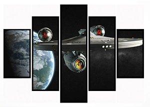 Quadro Mosaico 5 Partes Star Trek Moldura Preta Art e Cia