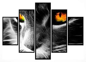 Quadro Mosaico 5 Partes  Cat Eyes Moldura Preta Art e Cia