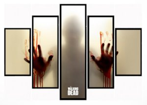 Quadro Mosaico 5 Partes The Walking Dead Zumbi Moldura Preta Art e Cia