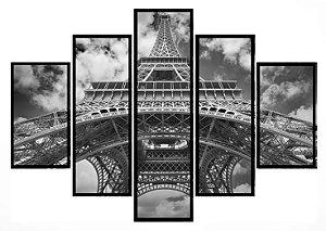 Quadro Mosaico 5 Partes Torre Eiffel Preta e Branca Moldura Preta Art E Cia