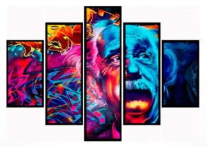 Quadro Mosaico 5 Partes Albert Einstein Moldura Preta Art e Cia