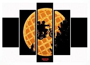 Quadro Mosaico 5 Partes Stranger Things Waffle Moldura Preta Art e Cia