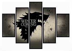 Quadro Mosaico 5 Partes Game Of Thrones House Stark Moldura Preta Art e Cia