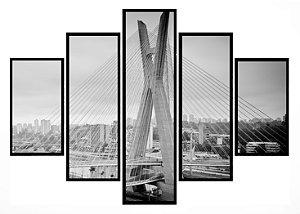 Quadro Mosaico 5 Partes Ponte Estaiada Sao Paulo Moldura Preta Art e Cia